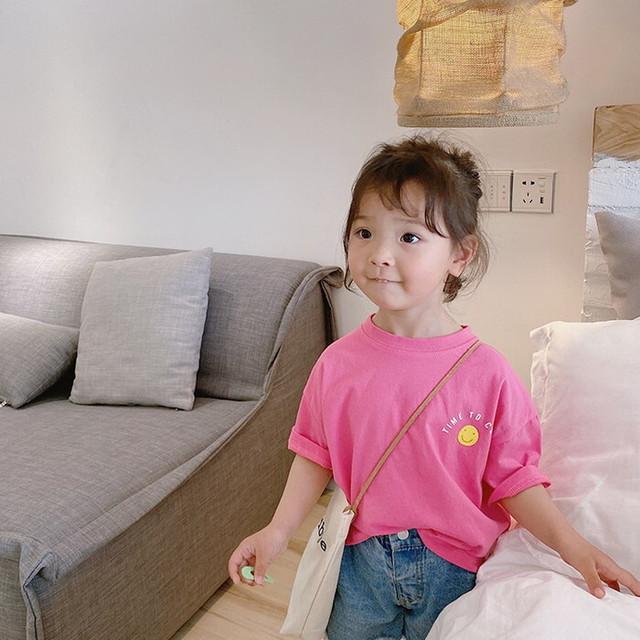 送料無料♡韓国輸入服 スマイル プリント 半袖 Tシャツ 色 サイズ80~140