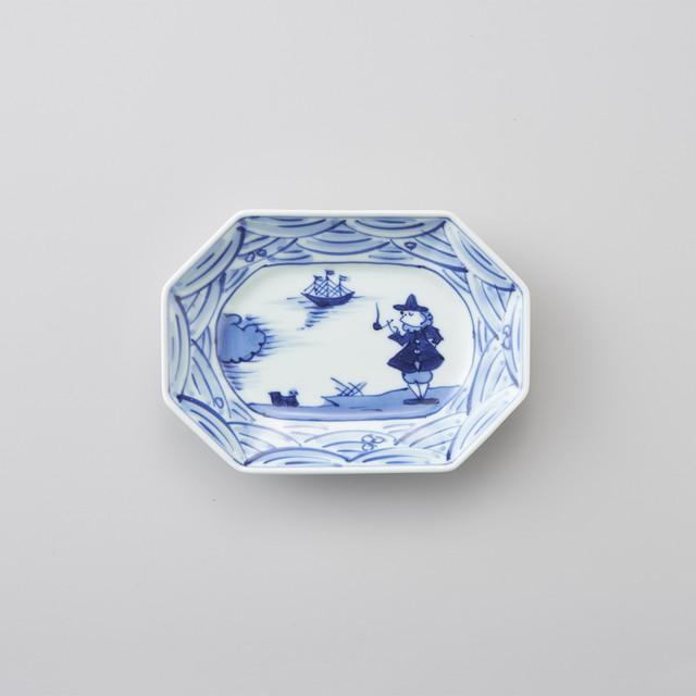 【青花】長崎紋 八角長角取皿