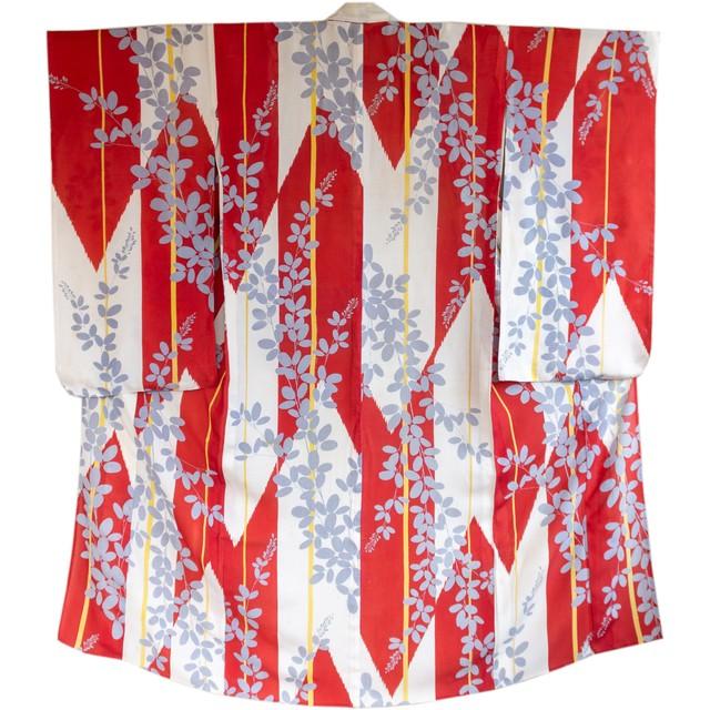 赤白 矢羽根に萩 絽小紋