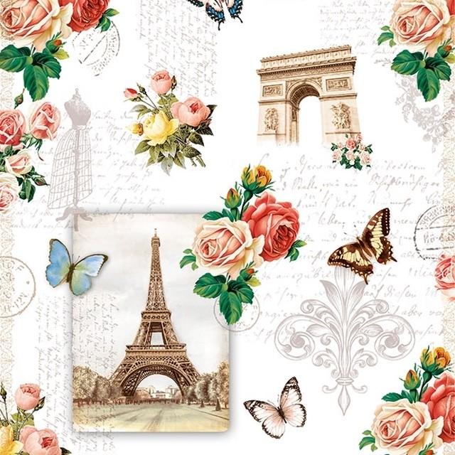 新入荷【Ambiente】バラ売り2枚 ランチサイズ ペーパーナプキン Paris Monuments ホワイト
