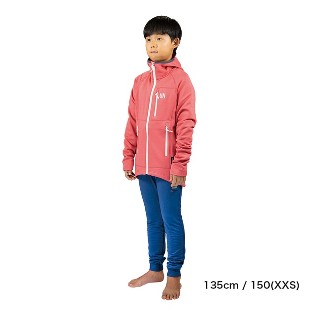 Kids / UN2100 Light weight fleece hoody / Navy : Red