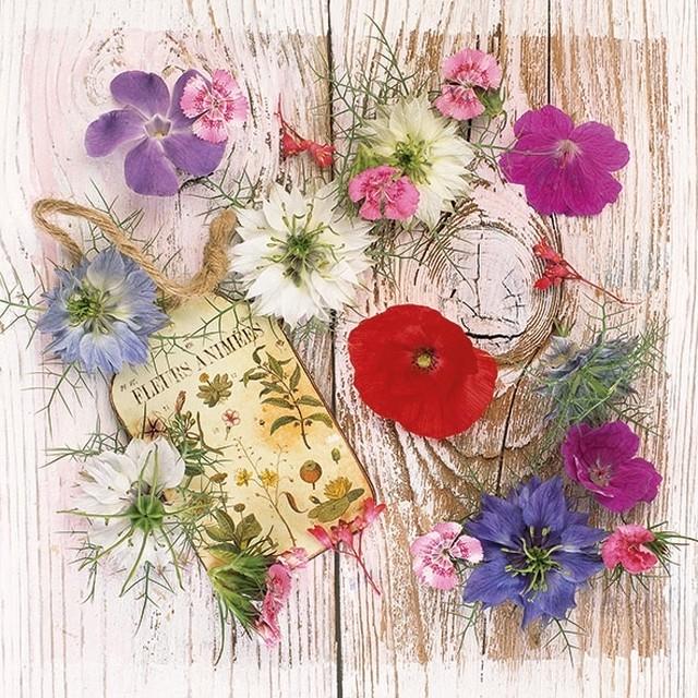 2021春夏【Ambiente】バラ売り2枚 ランチサイズ ペーパーナプキン Summer Flowers ナチュラル