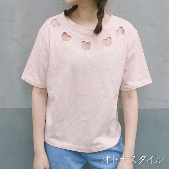 【予約】ハート LOVE 半袖 大人可愛い カットソー Tシャツ