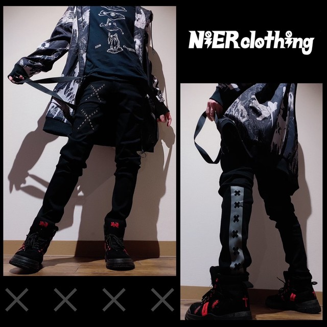 裏地フリースSTRETCH BLACK PANTS【SUSPENDERS装飾付き】