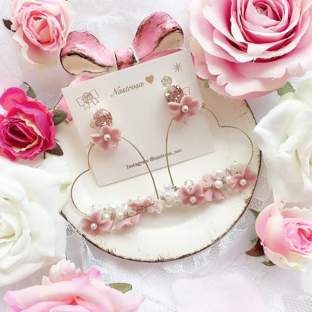 blooming heart wreathe♡pink