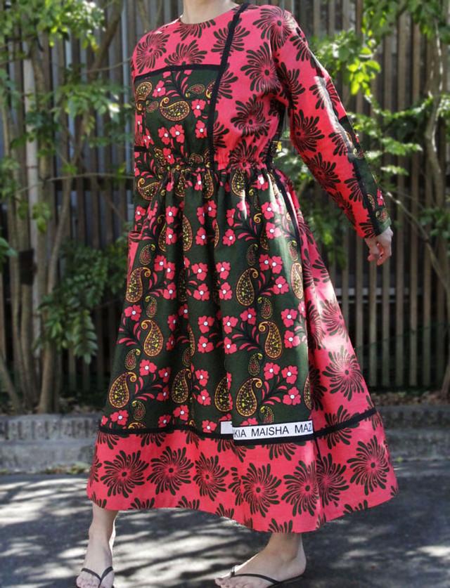カンガの長袖ワンピース|アフリカ布ワンピース