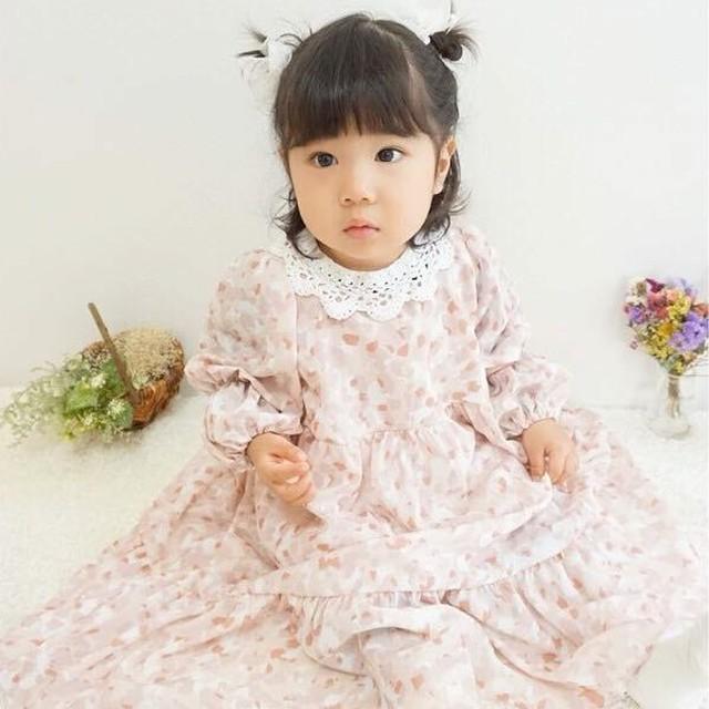 【ピンク】花柄ロングワンピース
