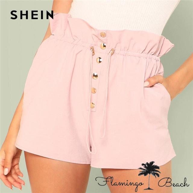 【FlamingoBeach】ウエストボタン ショートパンツ