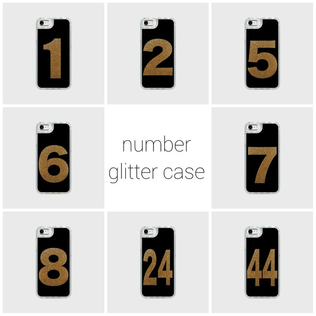 number glitter smart phone case