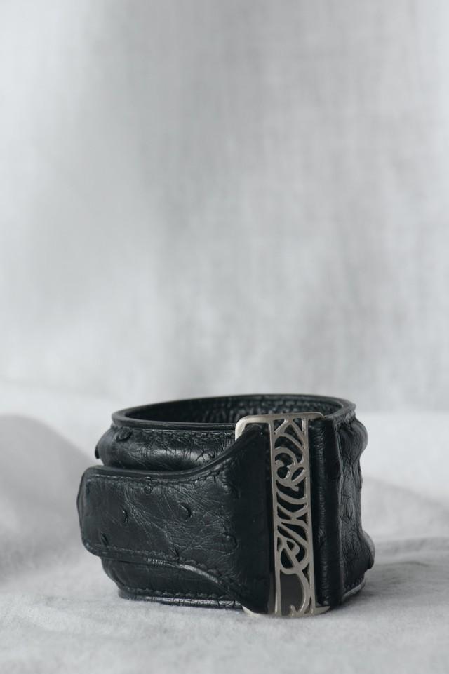 Ostrich Leather Bracelet オーストリッチレザーブレスレット( 黒×シルバー)