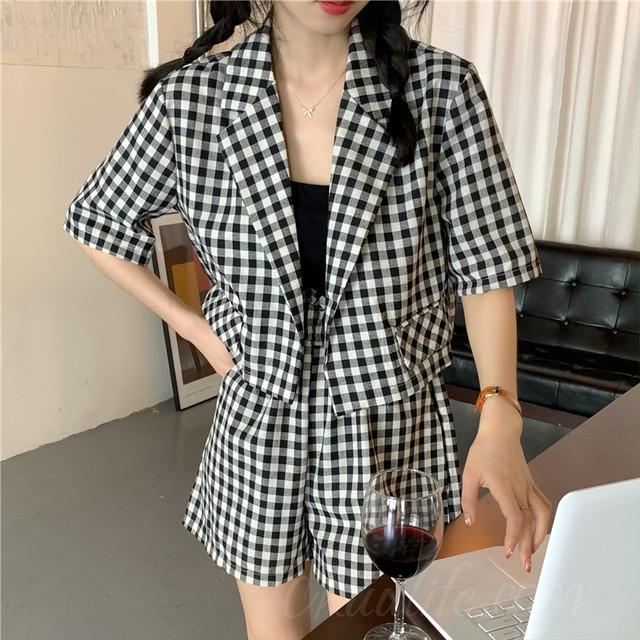 【セット】[単品注文]韓国系シングルブレスト折り襟ショート丈アウター+ショート丈(3分4分丈)二点セット42124961