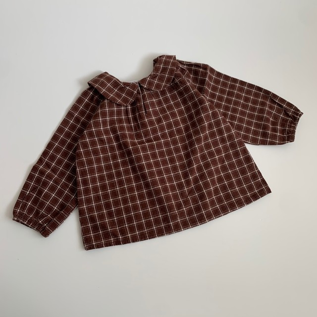 017. check blouse / dark brown