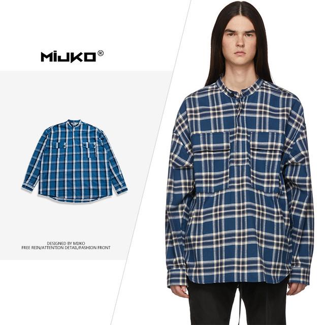 メンズ Tシャツ カジュアル ショールカラー チェック 長袖|全国送料無料! ma0299