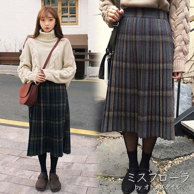 【予約】タータンチェック 秋冬 大人可愛い プリーツ ミモレ丈 スカート 体型カバー