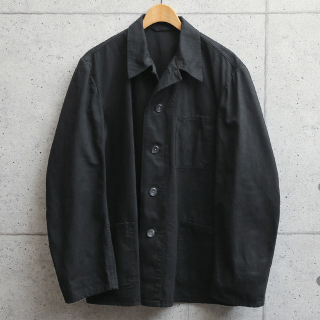 新品 ドイツ軍 Cotton WORK JACKET  BLACK染め/新品デッドストック 身幅タイト