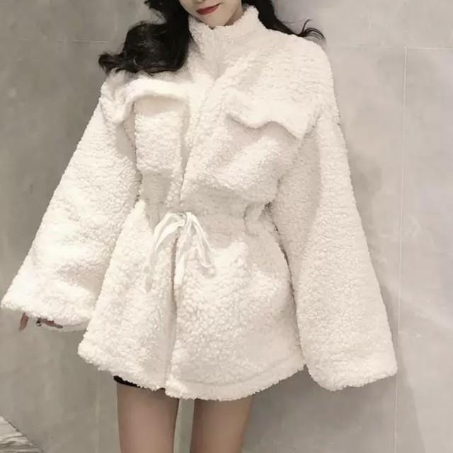 ウール素材 モコモコ デザイン ミドル コート 2色 B4877