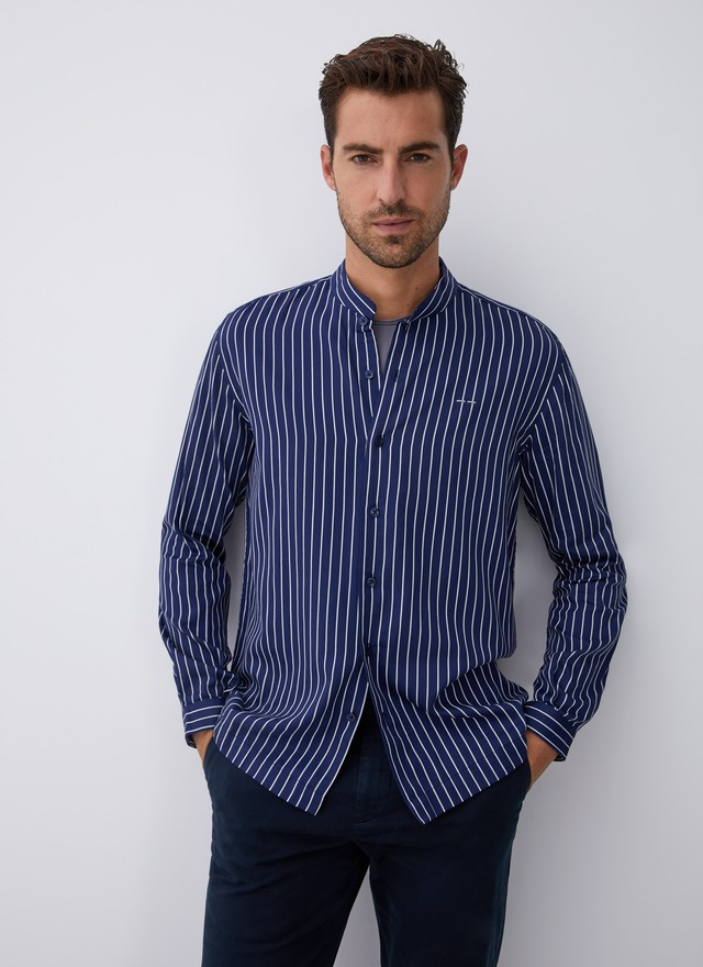 STRIPED SHIRT WITH MANDARIN COLLAR