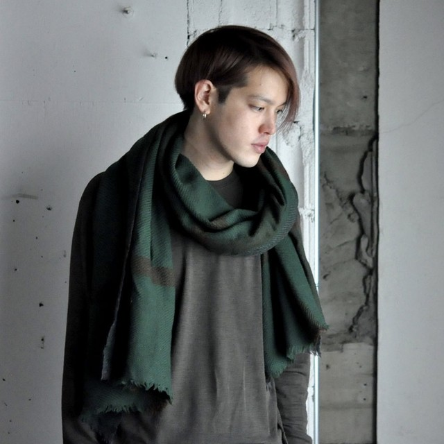 INDKRAFT stole - Green ×Brown Check -