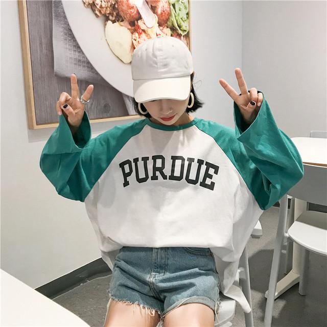 【tops】長袖Tシャツ韓国風アルファベットプリント配色切り替えルーズラウンドネックプルオーバー