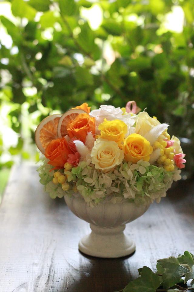 テーブルアレンジ イエロー(プリザーブドフラワー)