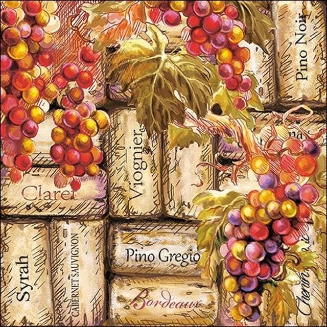 予約商品【Ambiente】バラ売り2枚 ランチサイズ ペーパーナプキン Grapes & Corks ナチュラル