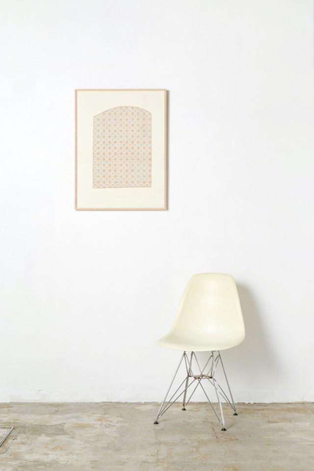 竹﨑勝代「ガラス工場」TAKEZAKI Katsuyo'glass house '/woodcut print with frame