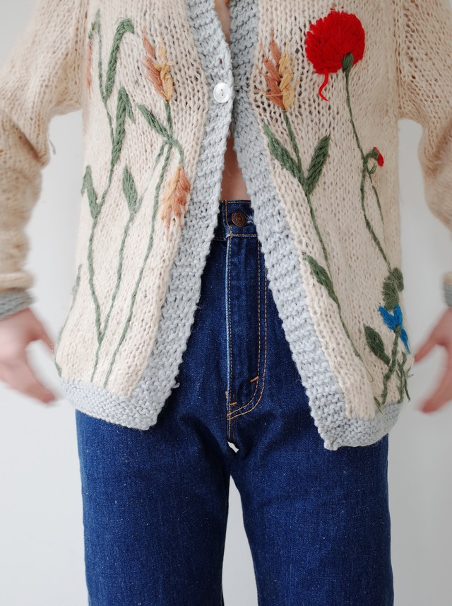 used hand embroidery knit cardigan