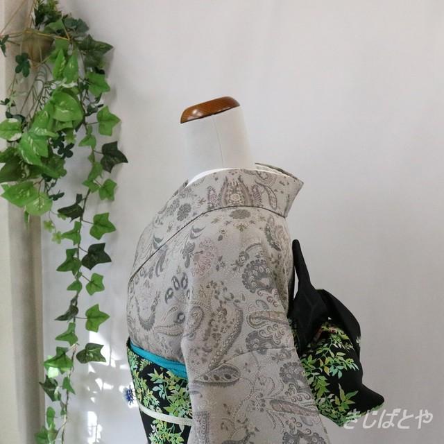 浴衣 抹茶色に白花