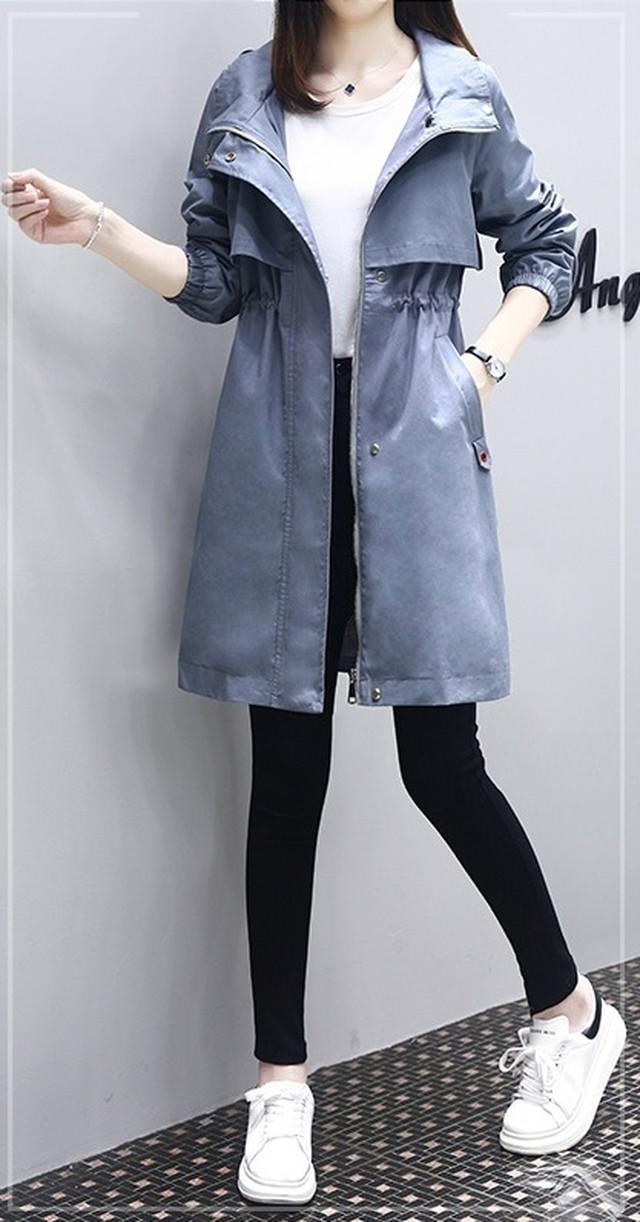 細見え カジュアル ミディアム丈 アウター コート フード付き ロゴワッペン 秋冬 大きいサイズ レディース