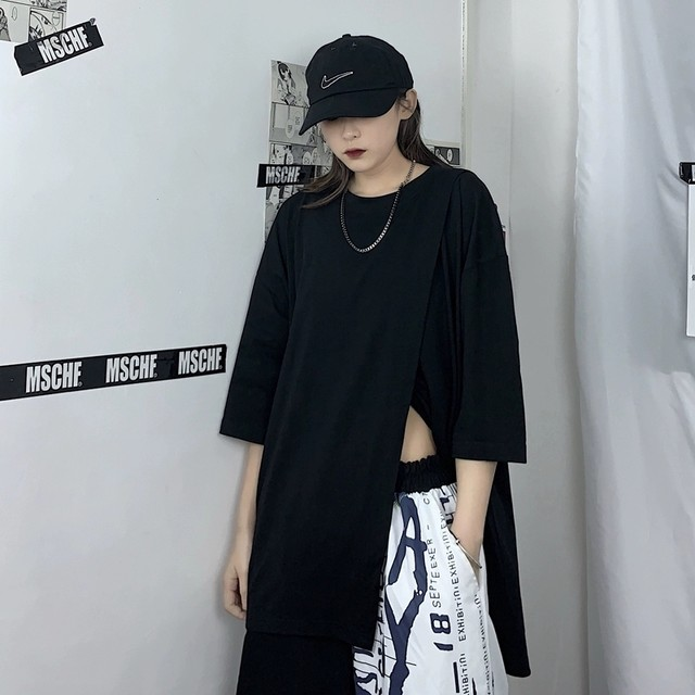 【トップス】半袖切り替えファッション無地ストリート系Tシャツ28934194