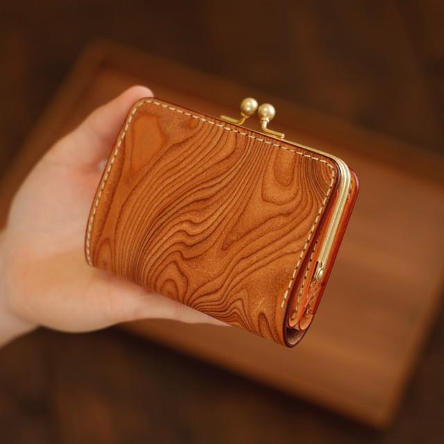 小さいがま口財布 / Wood pattern Beige【1点限定】