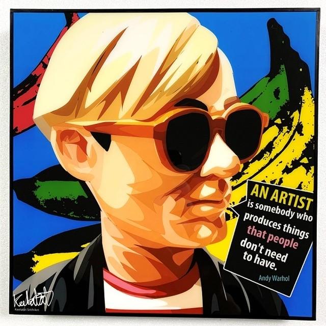 Andy Warhol (2) / アンディ ウォーホル「ポップアートパネル Keetatat Sitthiket」ポップアートフレーム ボード グラフィック 絵画 壁立て 壁掛けインテリア 額 ポスター プレゼント ギフト インスタ バナナ キャンベルのスープ缶 画家 芸術家 キータタットシティケット