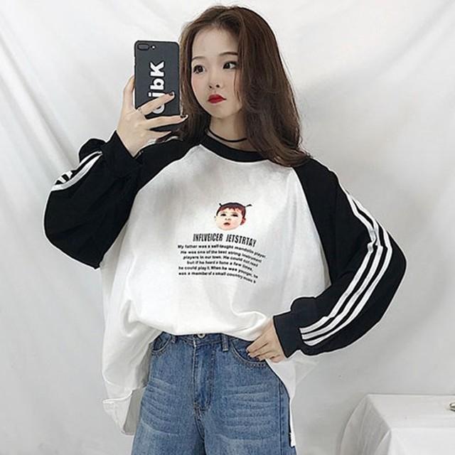 【トップス】流行りカジュアル韓国系アルファベット切り替え長袖Tシャツ28286224