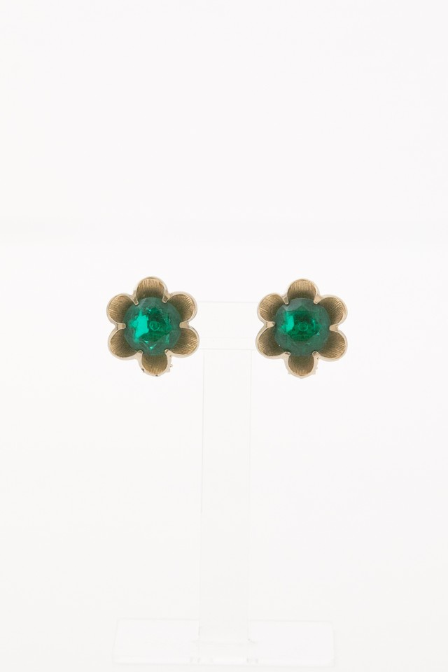 【Run Rabbit Run Vintage 】Green flower earring