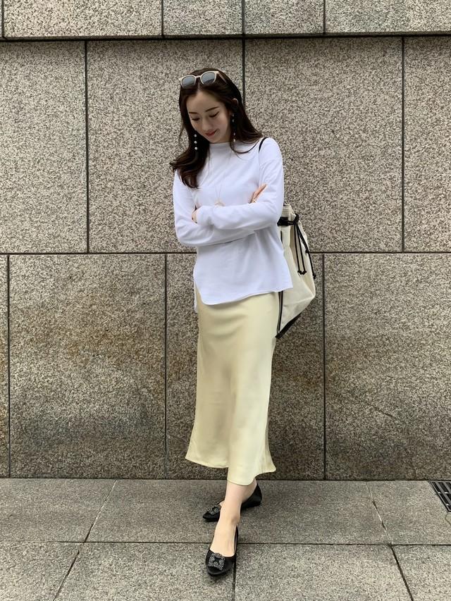 satin long skirt / yellow  (即納)