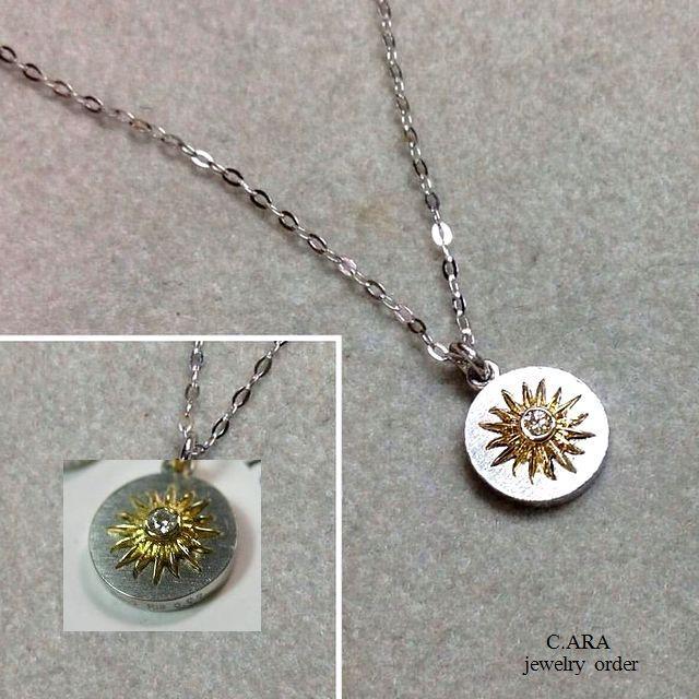 プラチナ・K18ダイヤモンドペンダント(チェーン全長45センチ)