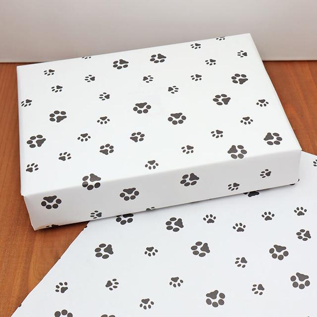 【10枚】A3サイズ肉球包装紙(白黒)