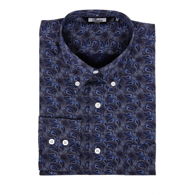 Relco London | Button Down Paisley Shirt - Blue