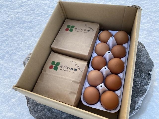 特別栽培米2品種と自然卵のセット