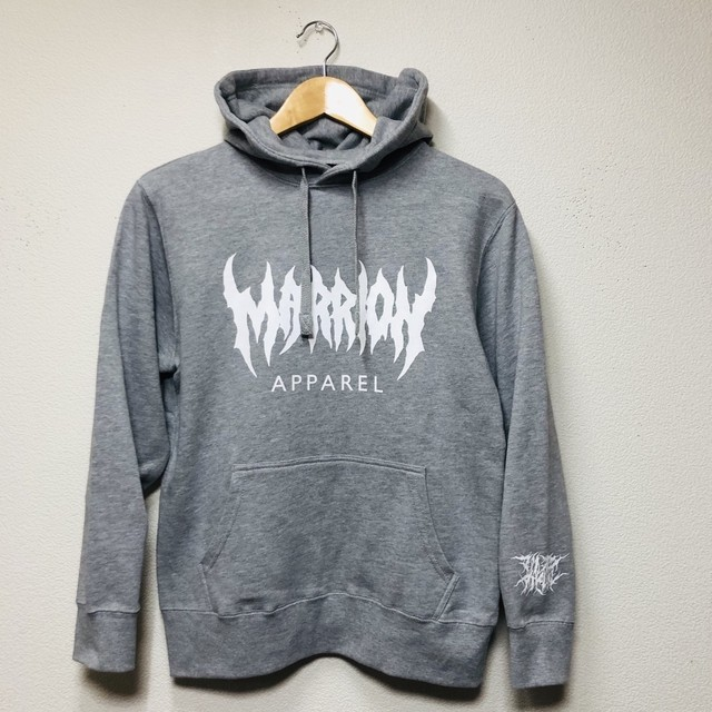 【裏パイル&平ヒモ】MARRION APPAREL LOGO HOODIE (HeatherGray×White)