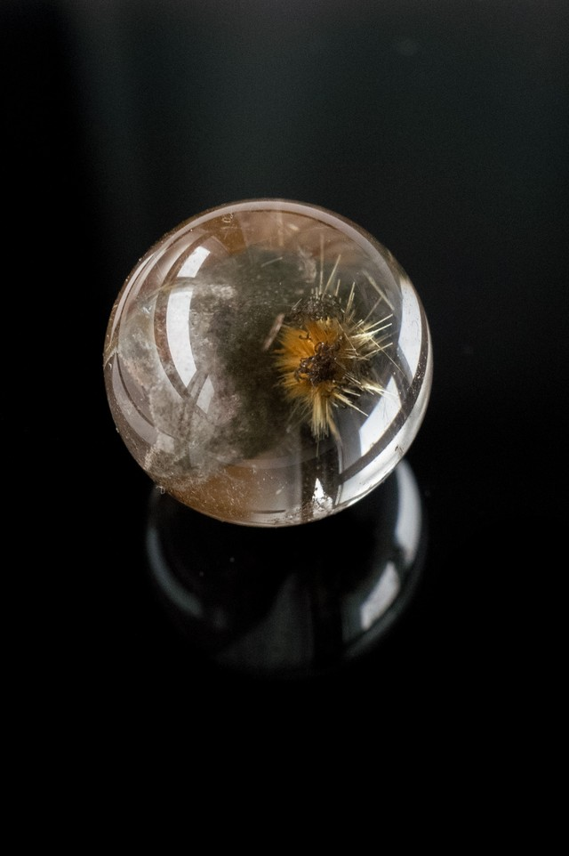 Quartz in  Rutilated Quartz  Sphere - 003