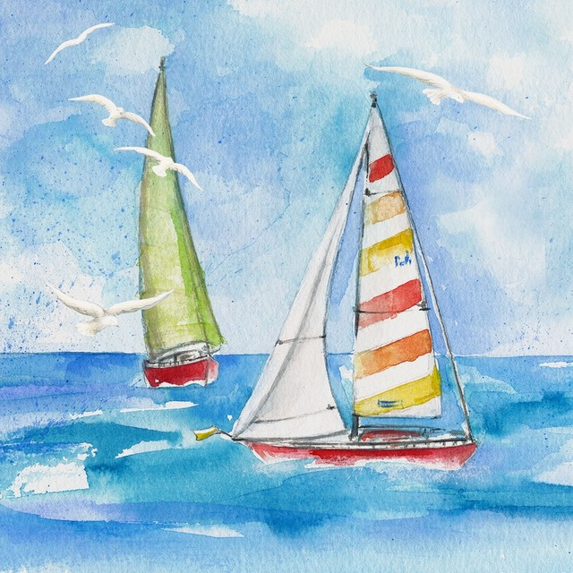 【Paperproducts Design】バラ売り2枚 ランチサイズ ペーパーナプキン Sailing ブルー
