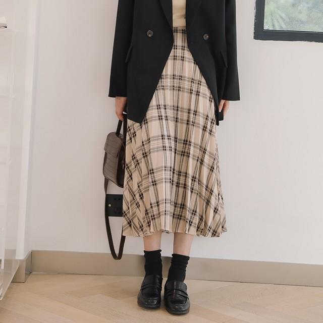 【skirt】レトロ合わせやすい学園風ハイウエスト細見えチェック柄スカート