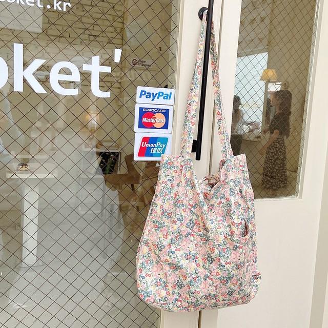 【小物】文芸スタイル綺麗なプリントバッグ