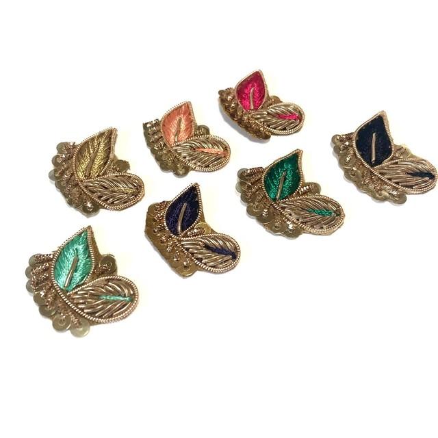 インドザリ刺繍カラーデコパーツセット(小鳥)
