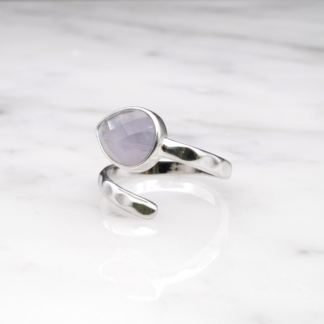 SINGLE STONE OPEN RING SILVER 010