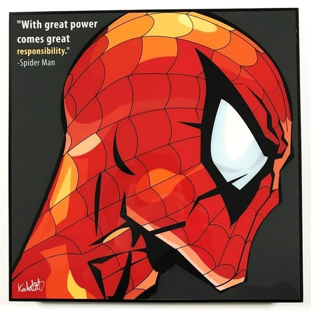 Spider Man / スパイダーマン「ポップアートパネル Keetatat Sitthiket」アートフレーム ボード グラフィックアート ウォール 絵画 壁立て 壁掛けインテリア 額 ポスター プレゼント ギフト インスタ映え 映画 アベンジャーズ MARVEL マーベル キータタットシティケット