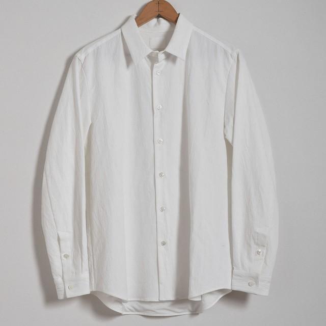 山内 yamauchi 有松塩縮加工リネンシャツ 羽根衿 white