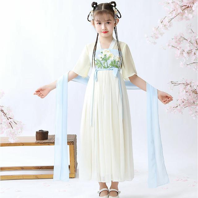 刺繍 漢服 チャイナ風ワンピース 中国風 子どもドレス シフォンワンピース 結婚式 入学式 卒業式 演奏会 ステージ 誕生日プレゼント イエロー