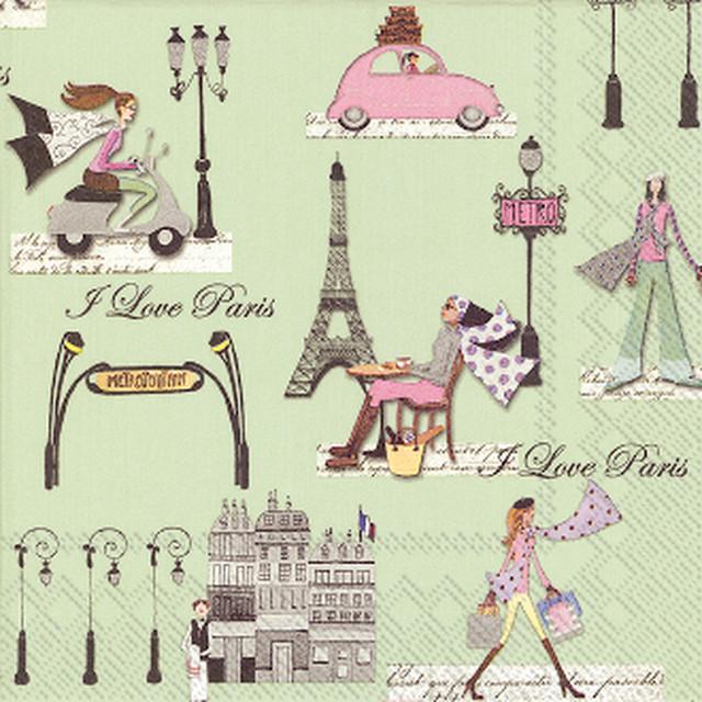 【IHR】バラ売り2枚 カクテルサイズ ペーパーナプキン J'AIME PARIS グリーン